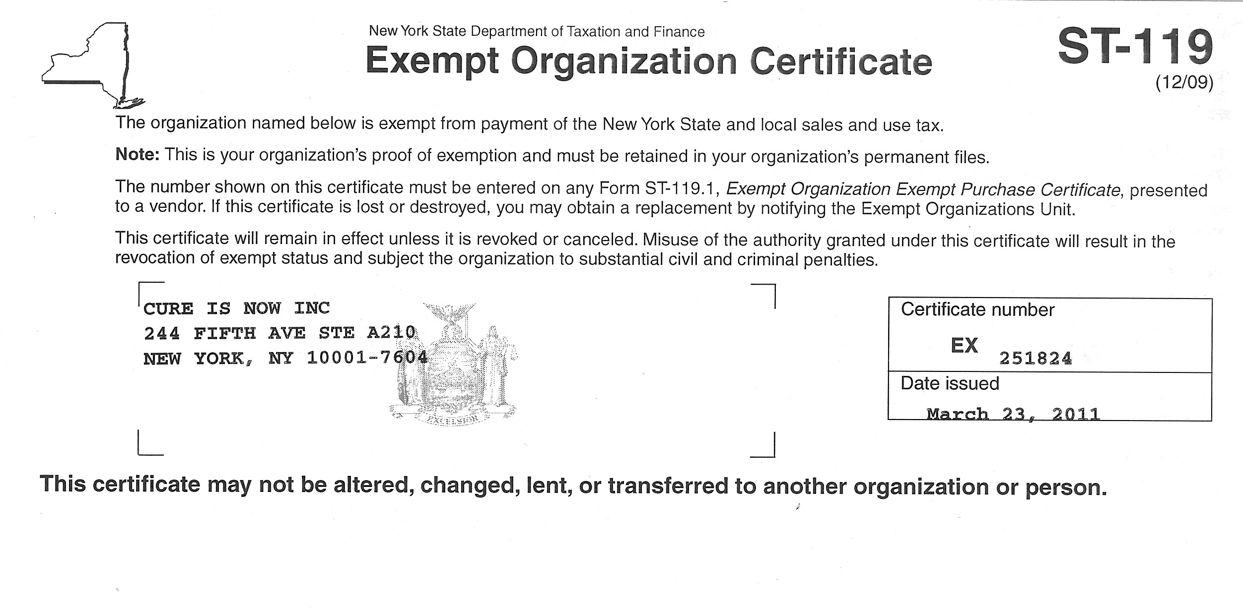 Tax exempt certificate the cure is now awareness campaigns xflitez Gallery